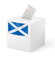 Ballot box with voting paper Scotland vector image