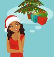 Christmas black woman thinking vector image