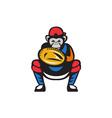 Chimpanzee Baseball Catcher Retro vector image