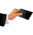 Male hand with black business card vector image vector image