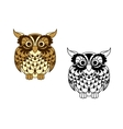 Brown cartoon and outline colorless owl bird vector image