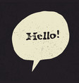 hello sign in speech bubble grunge styled vector image