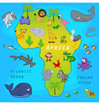map of Africa with animals vector image