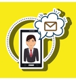 cartoon man smartphone cloud email vector image