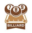 billiard club logo emblem silhouette isolated on vector image