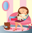 girl-with-her-pet vector image
