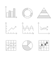 Lines Icons Set of Graph and Chart vector image