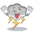crazy thunder cloud character cartoon vector image