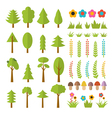 Set of flat forest elements Include mushrooms vector image