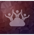 Three happy men on a cloud in flat style icon vector image