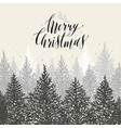 hand drawn christmas card new year trees with vector image