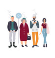 Smoking place different people on smoke break vector image