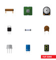 flat icon device set of hdd resist unit and vector image