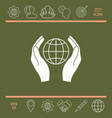 hands holding earth protect icon vector image
