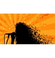 Silhouette of Womans head with Music Hair vector image
