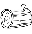 black and white wood log cartoon vector image