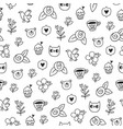 doodle bear cat and a bird outline pattern vector image