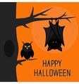 Happy Halloween card Bat hanging on tree Hollow vector image
