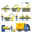 Manufacturing process with production factory line vector image