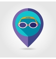 Swimming Goggles flat mapping pin icon vector image