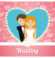 wedding couple lovely invitation heart ornament vector image