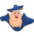 Cute Pig in Superhero Cartoon vector image