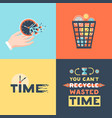 wasted time 4 flat icons square vector image vector image