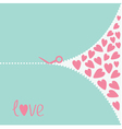 Cutting pink scissors and hearts Love card vector image