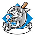 shark baseball mascot vector image