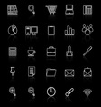 Office line icon reflect on black background vector image