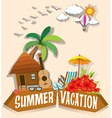 Summer vacation theme with bungalow vector image