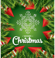 Christmas card with white snowflake on green vector image