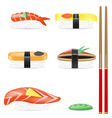 sushi set icons vector image vector image