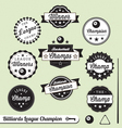 Billiards Champion Labels vector image