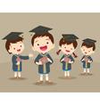 cute graduation students vector image
