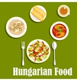 Dinner with dessert of hungarian cuisine vector image