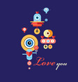 greeting card with enamored robots vector image