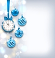 New Year Shiny Background with Clock and Glass vector image