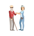Volunteer Helping A Blind Old Man vector image
