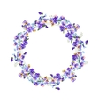 Detailed contour wreath with forget-me-nots and vector image vector image