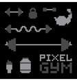 Pixel art gym isolated set vector image