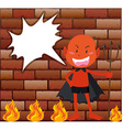 Devil and fire in front of brick wall vector image