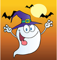 Ghost Wearing A Witch Hat Over Bats On Orange vector image