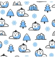 Seamless pattern with cute doodle arctic fox vector image