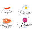 Watercolor label seafood vector image