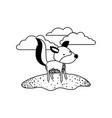 wolf cartoon in outdoor scene with clouds in black vector image