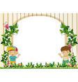 Border design with boys in the garden vector image vector image