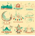 Set of emblems for Islamic holiday Eid Mubarak vector image