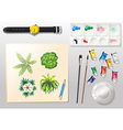 A topview of the materials for painting and a vector image