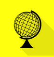 earth globe sign black icon with flat style vector image